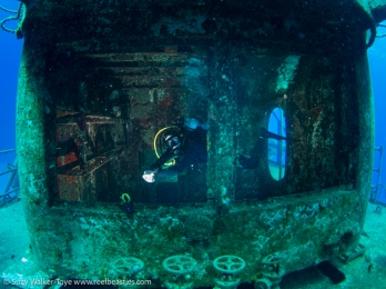Playing with off camera strobes on the wreck of the Kittiwake, model: Henley Spiers, Cayman 2016